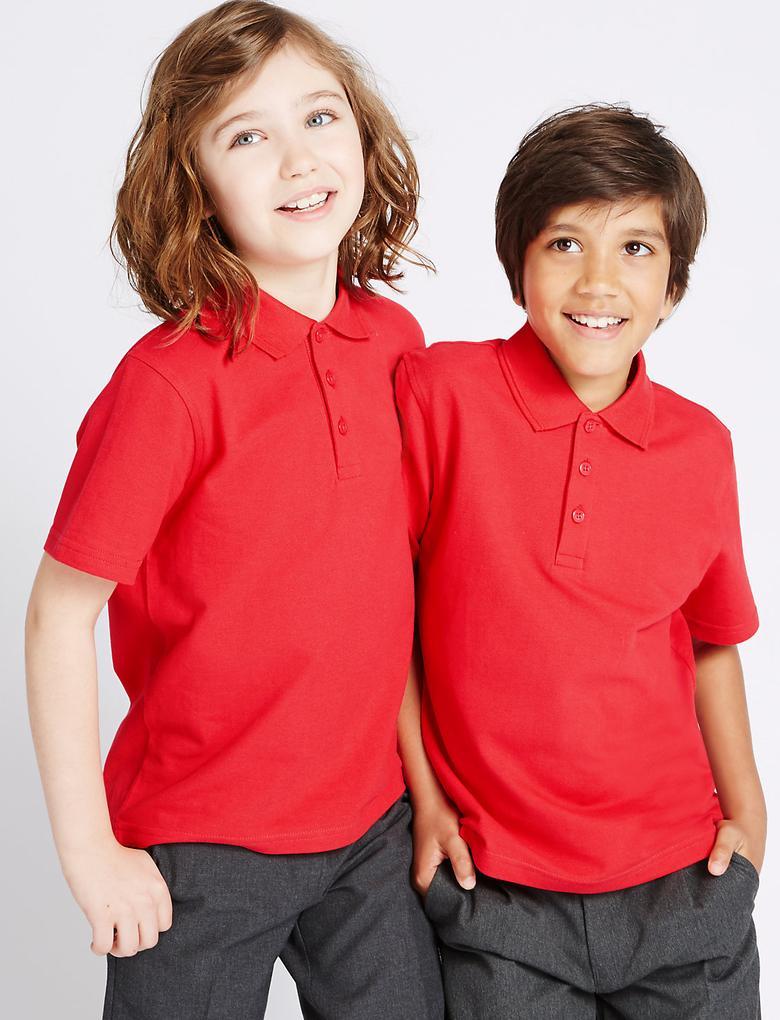 Kırmızı 3'lü Unisex Saf Pamuklu Polo Yaka T-Shirt