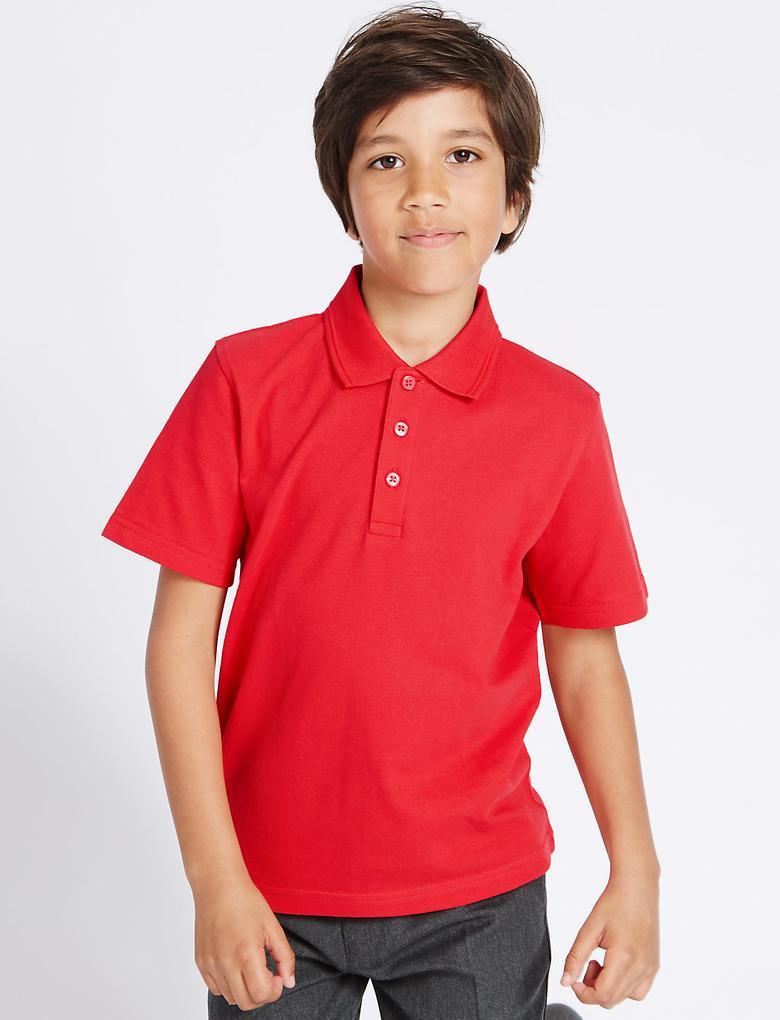 3'lü Unisex Saf Pamuklu Polo Yaka T-Shirt
