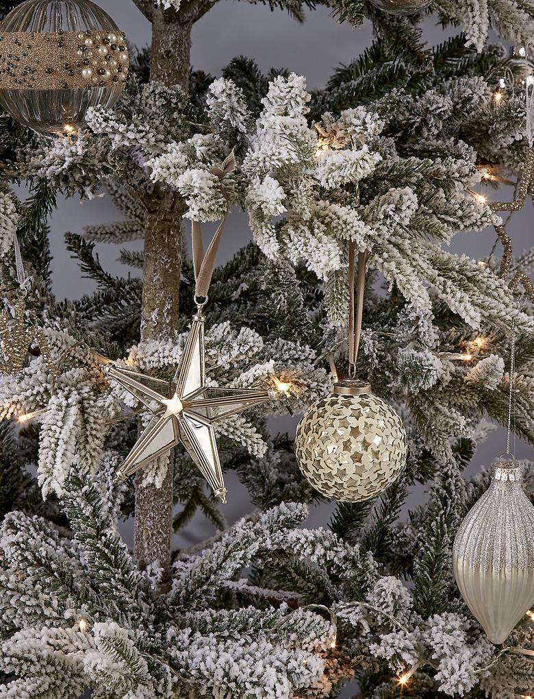Metalik Gümüş Camlı Yıldız Çam Ağacı Süsü