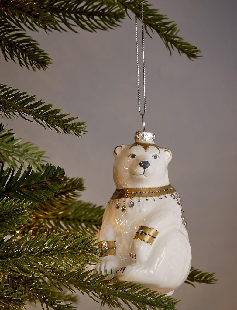 Beyaz Süslü Kutup Ayısı Çam Ağacı Süsü