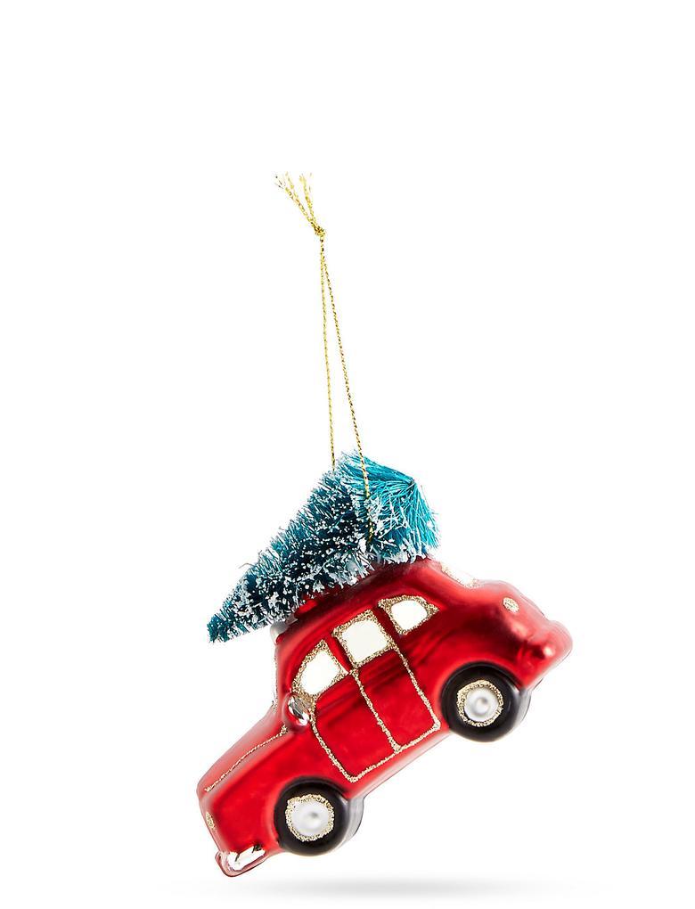Renksiz Kırmızı Araba Cam Çam Ağacı Süsü