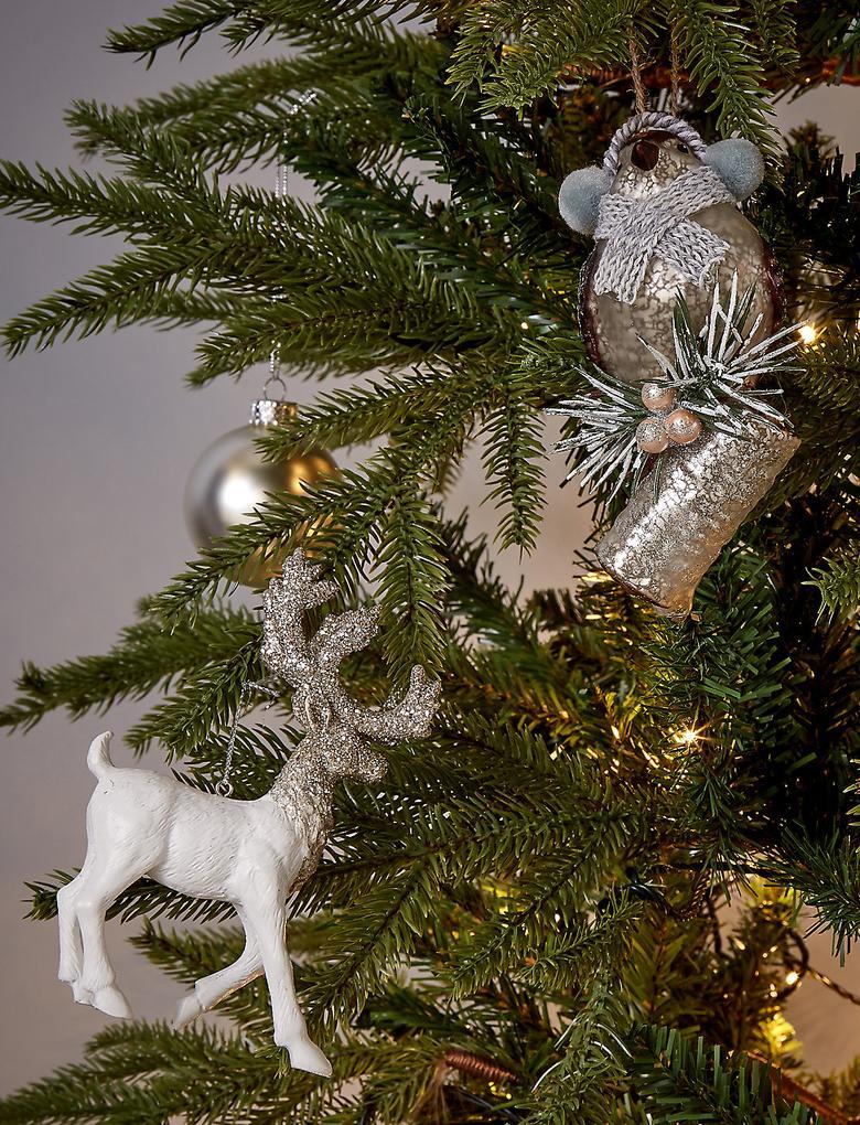 Beyaz Gümüş Pırıltılı Beyaz Geyik Çam Ağacı Süsü