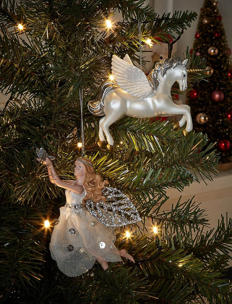 Renksiz Gümüş Peri Çam Ağacı Süsü