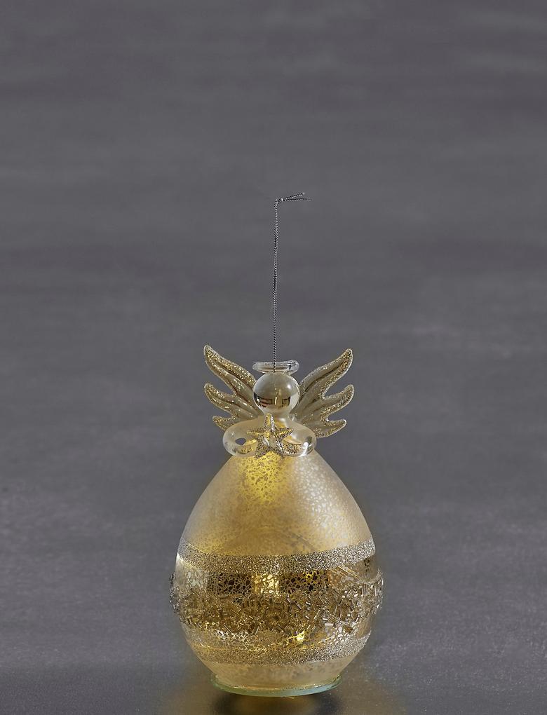 Işıklı Gümüş Cam Melek Çam Ağacı Süsü