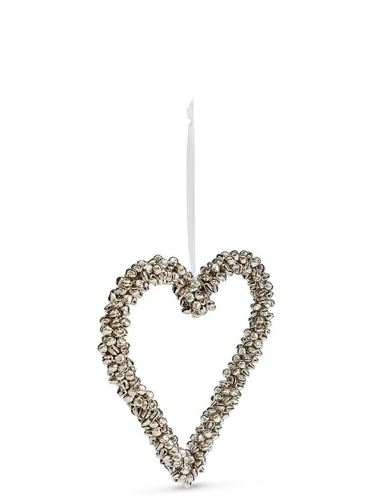 Gümüş Zil Kaplı Kalp Süs
