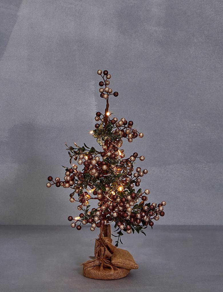 46cm (1.5 Ft) Beyaz Işıklı Çam Ağacı
