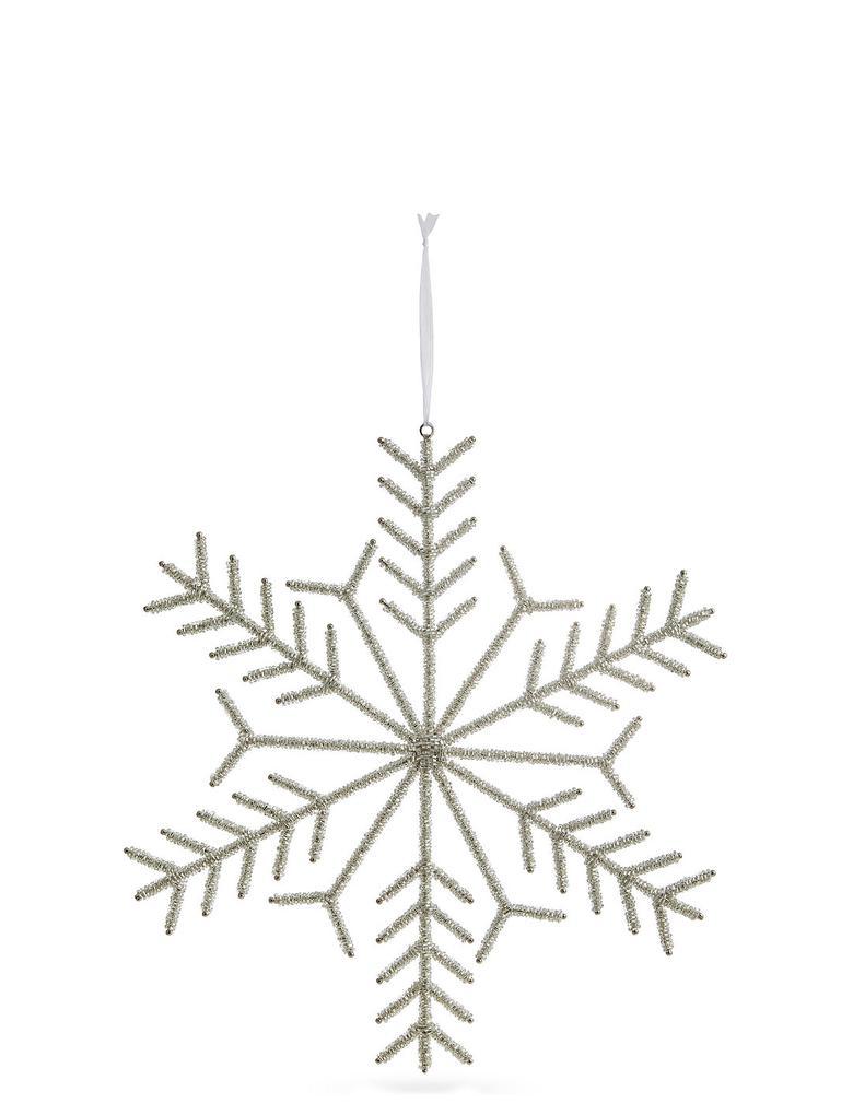 Gümüş Boncuklu Kar Tanesi Süs