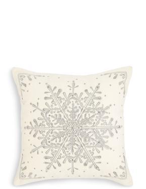 Kar Tanesi Desenli Yastık