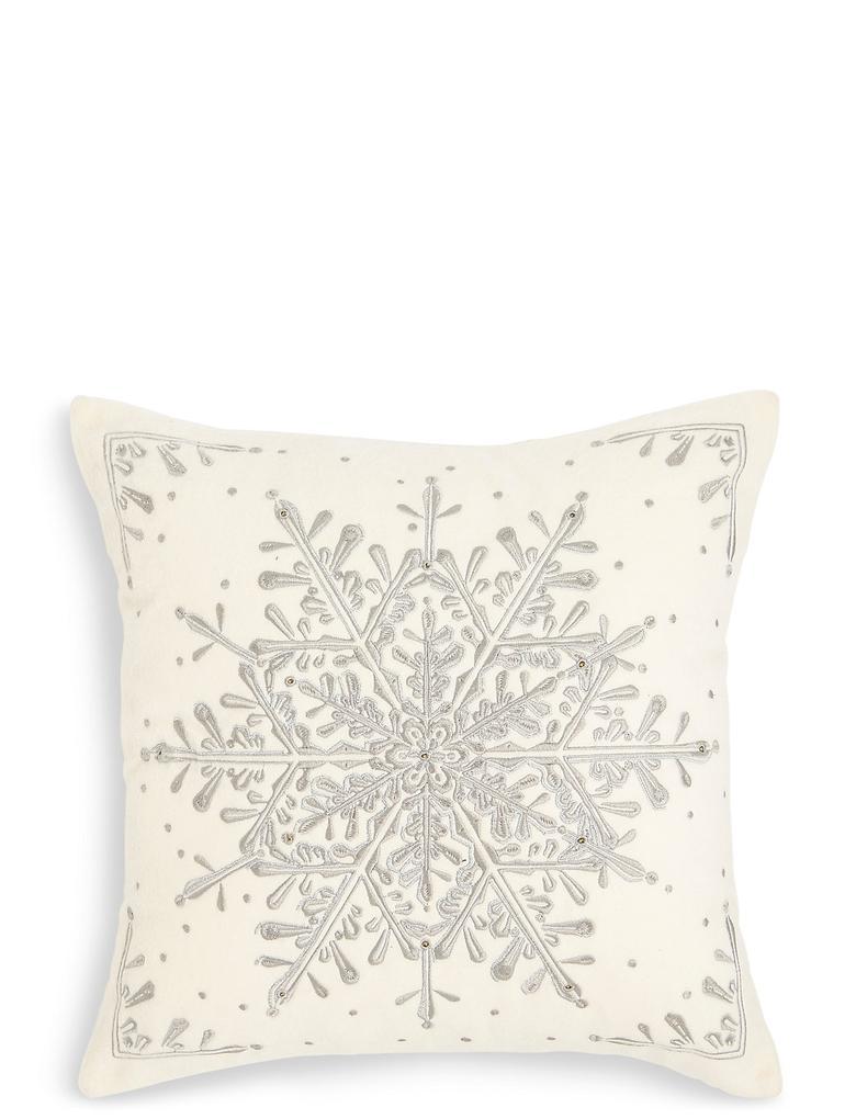 Gri Kar Tanesi Desenli Yastık