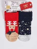 2'li Pamuklu Geyik Desenli Çorap Seti (0 - 24 Ay)