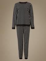 Siyah Desenli Uzun Kollu Pijama Takımı