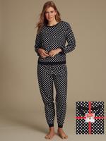 Desenli Uzun Kollu Pijama Takımı