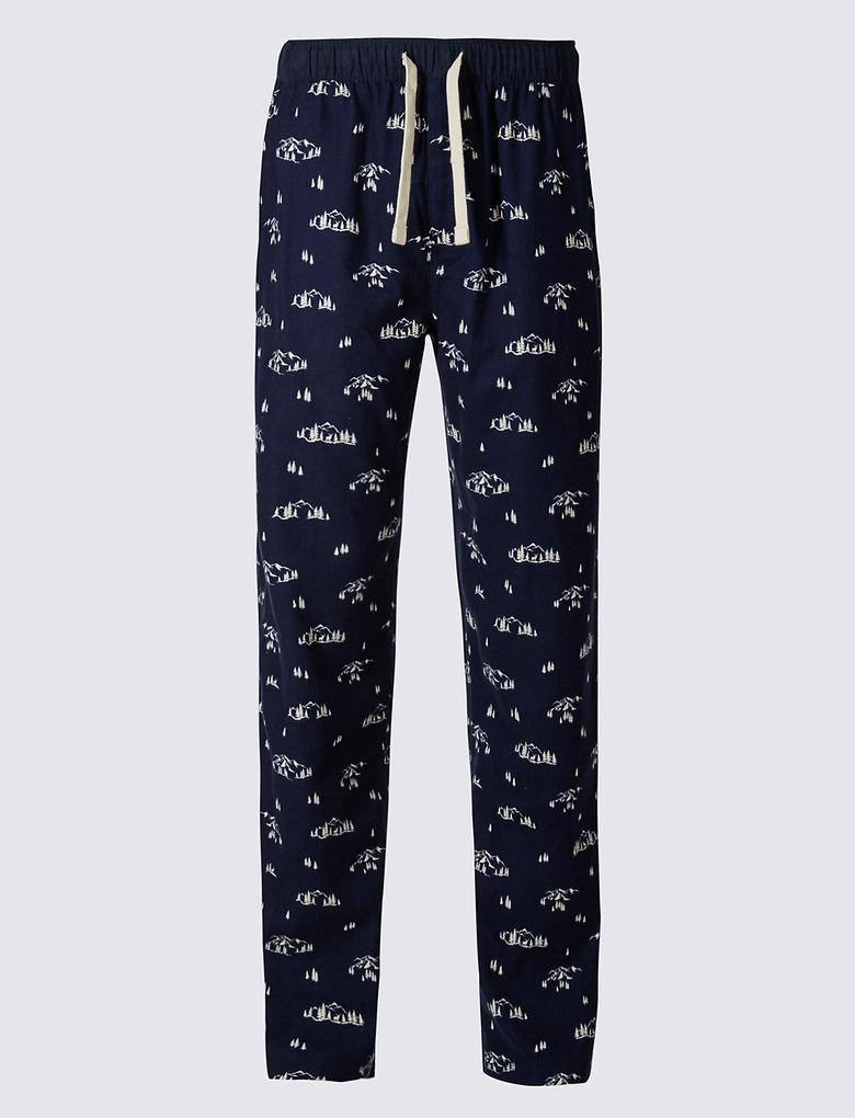 Saf Pamuklu Desenli Pijama Altı