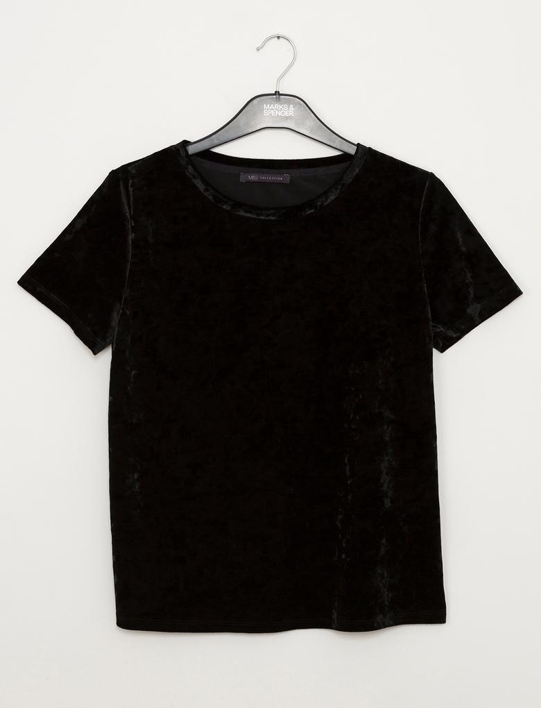Kısa Kollu Kadife T-Shirt