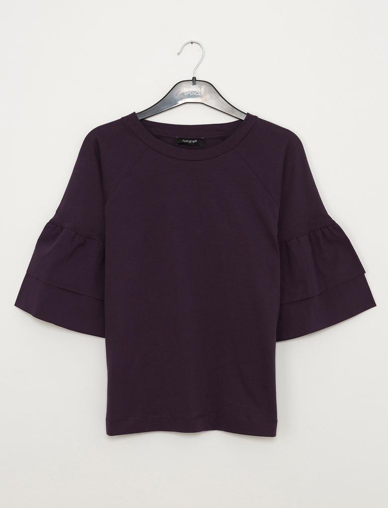 Fırfır Kollu T-Shirt