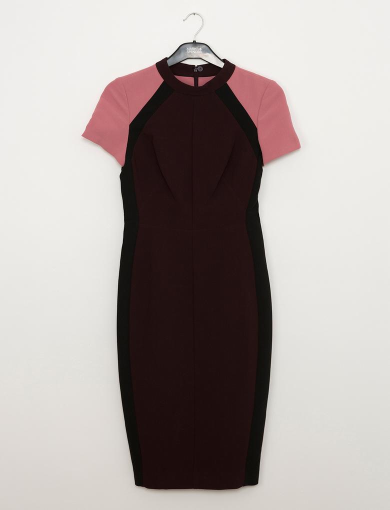Mor Boğazlı Shift Elbise