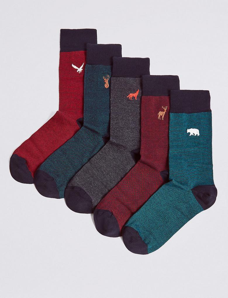 Multi Renk 5'li Pamuklu İşlemeli Çorap