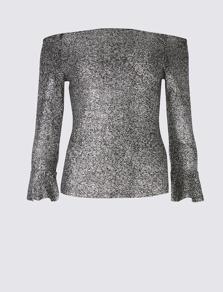 Metalik Pırıltılı Uzun Kollu Bluz