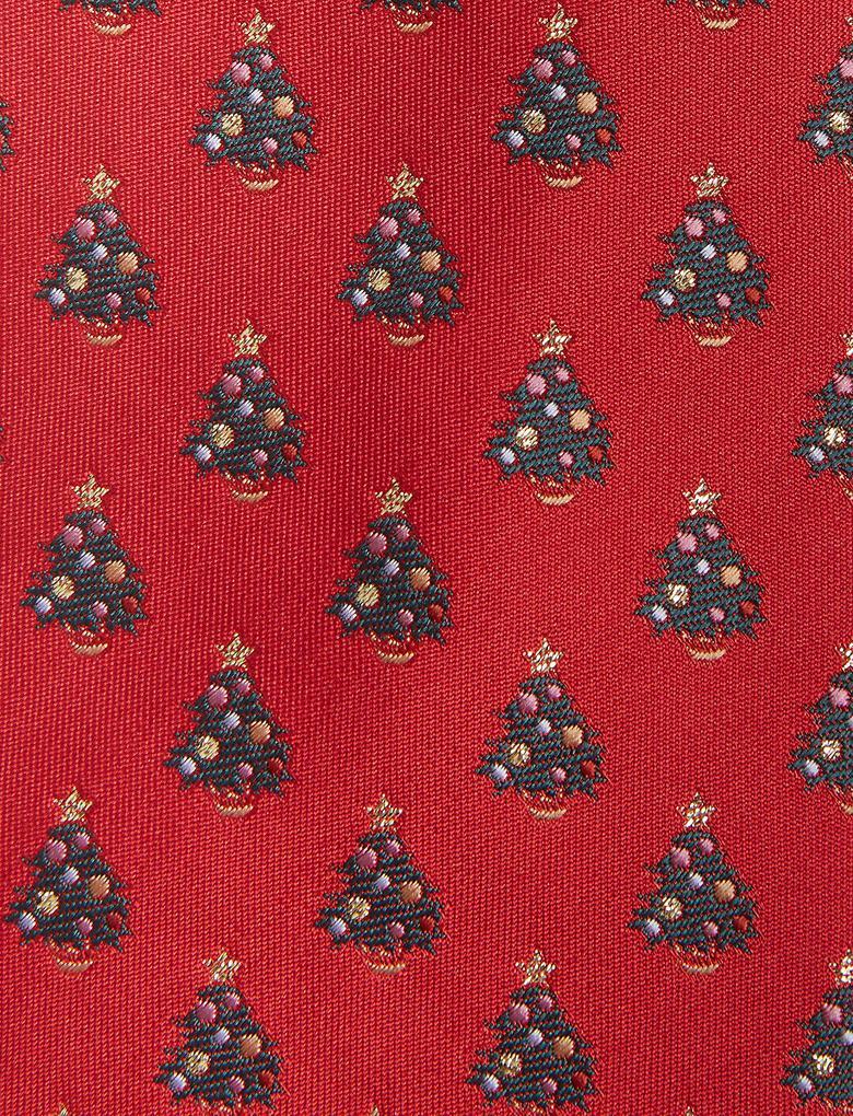 Kırmızı Çam Ağacı Desenli Kravat