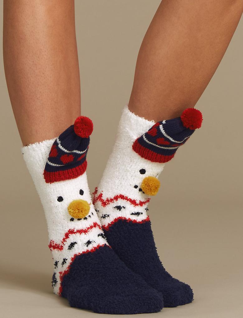 Lacivert Kardan Adam Desenli Yumuşak Ev Çorabı