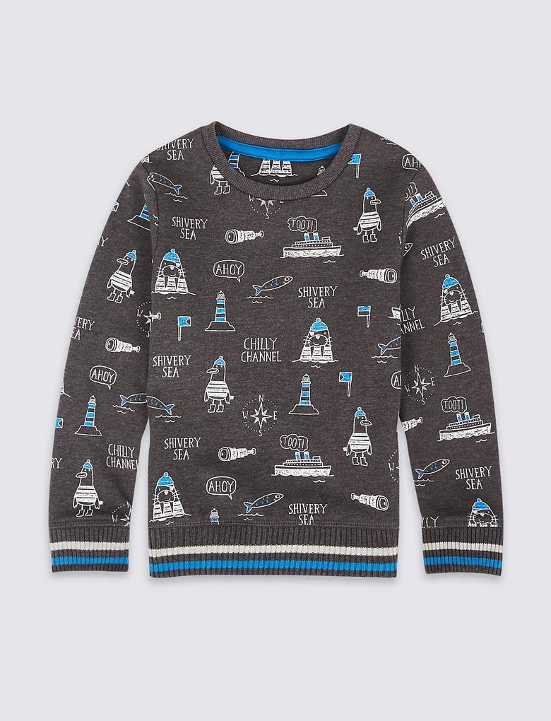 Pamuklu Desenli Sweatshirt (3 Ay - 6 Yaş)