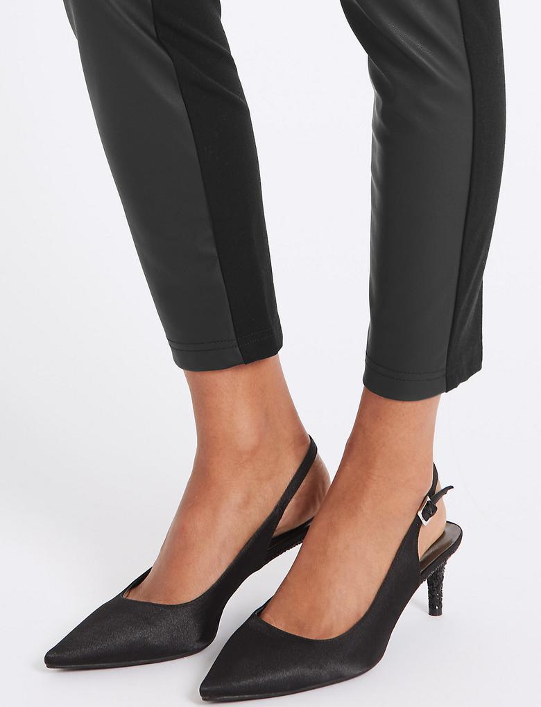 Deri Görünümlü Skinny Pantolon