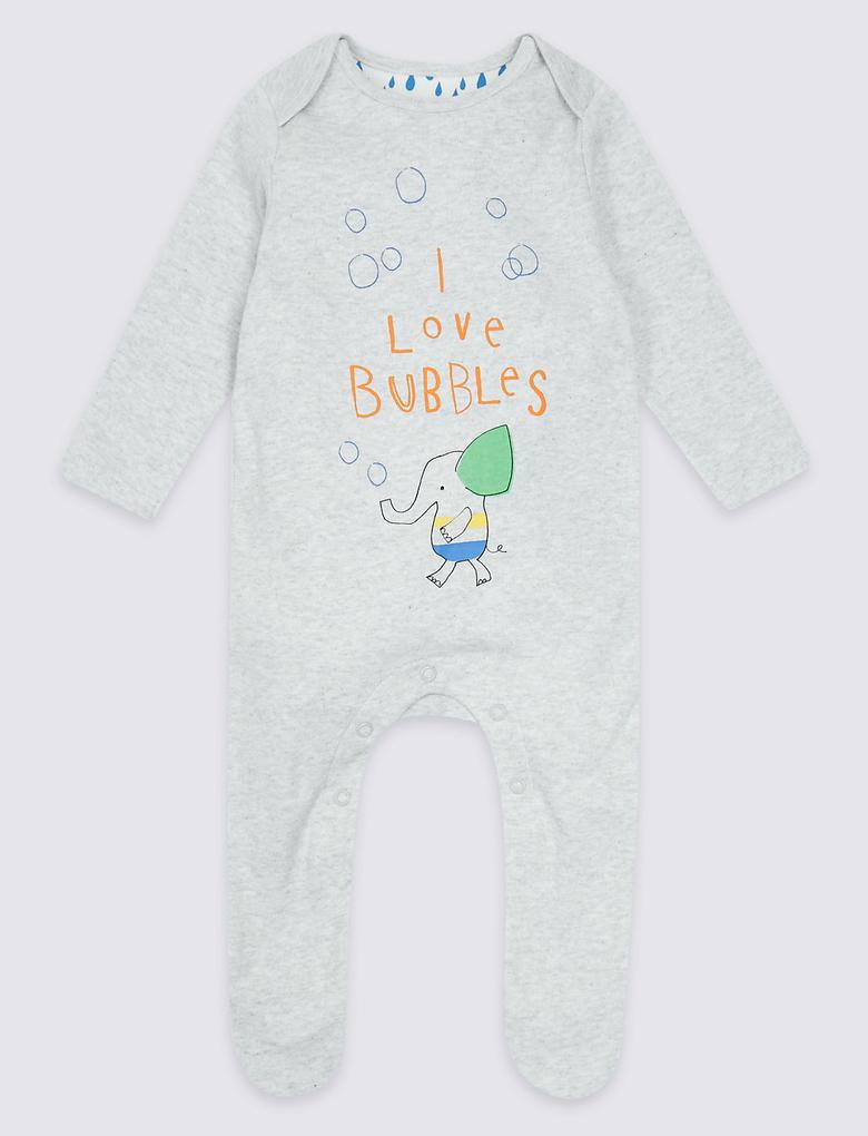 2'li Saf Pamuklu Desenli Tulum Pijama