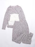 Gri Uzun Kollu Desenli Pijama Takımı