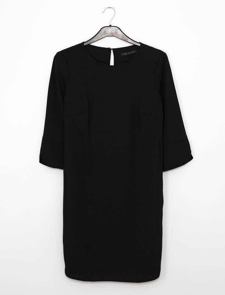 Uzun Kollu Yuvarlak Yaka Elbise