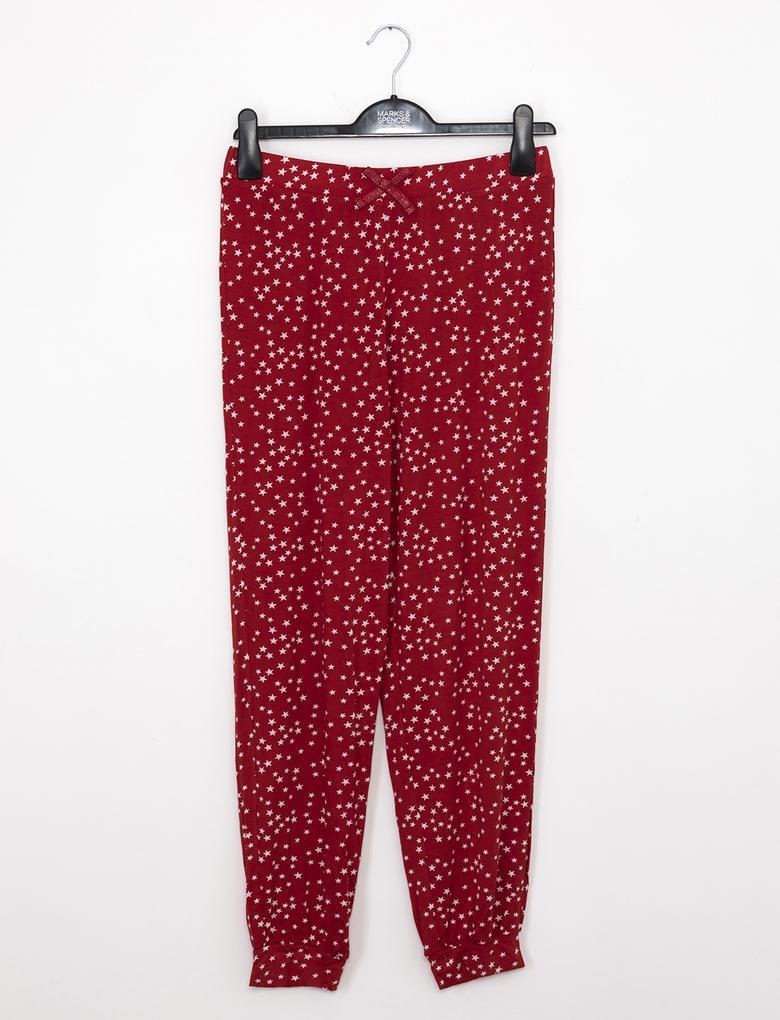 Kırmızı Desenli Pijama Altı