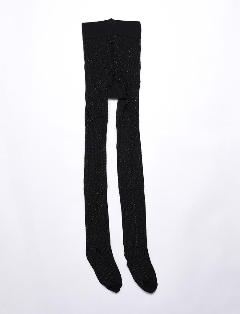 Siyah Pırıltılı Külotlu Çorap