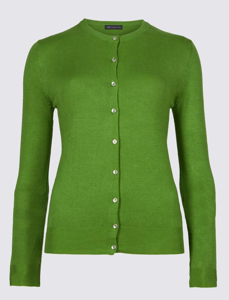 Yeşil Yuvarlak Yaka Hırka