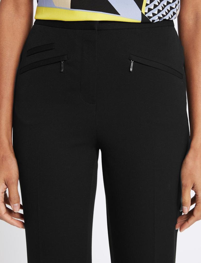 Siyah Fermuar Cepli Pantolon