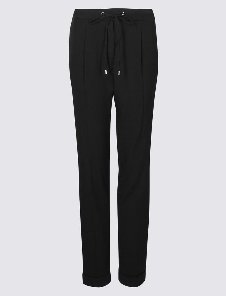 Siyah Pileli Tapered Leg Pantolon