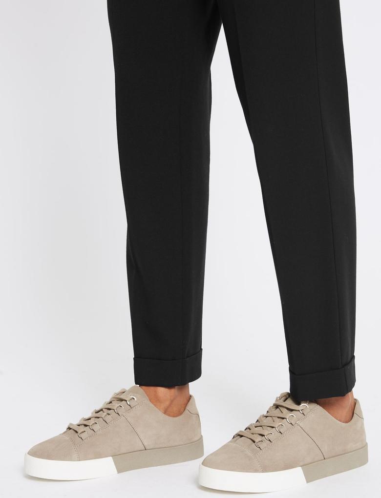 Kadın Siyah Pileli Tapered Leg Pantolon