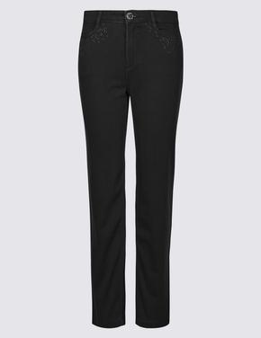 Kadın Siyah Roma Rise Straight Leg Jean Pantolon