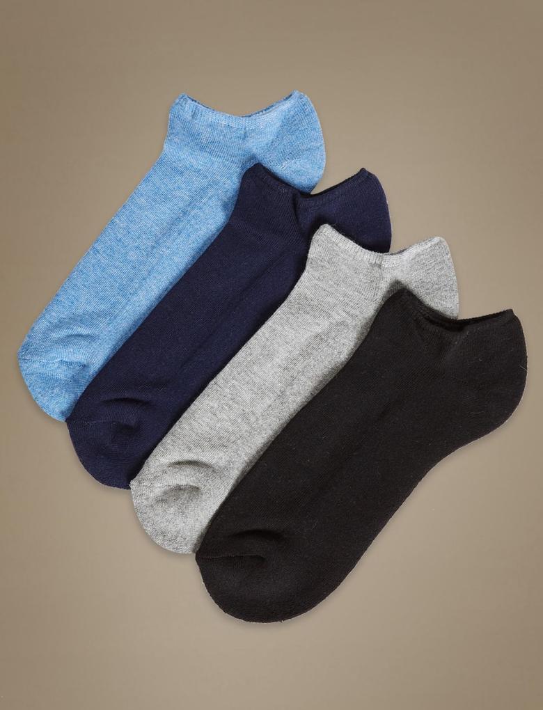 Gri 4'lü Pamuklu Rahat Çorap