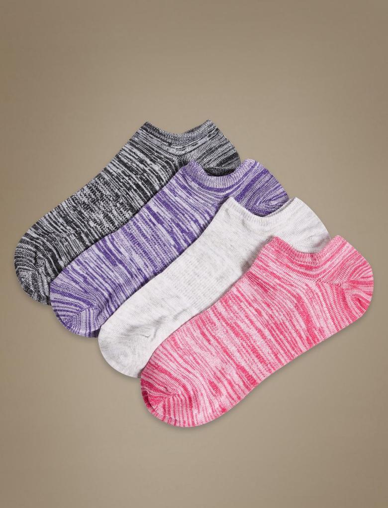 Gri 4'lü Pamuklu Desenli Kısa Çorap