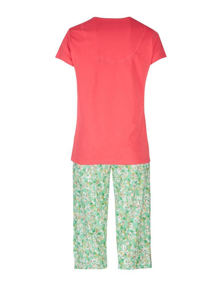 Saf Pamuklu Kısa Kollu Pijama Takımı