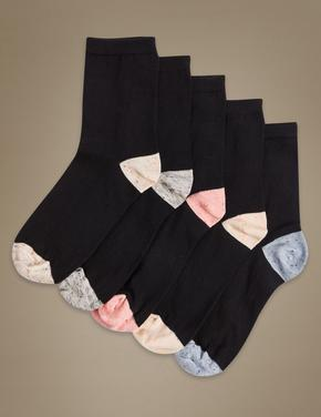 5'li Pamuklu Desenli Çorap