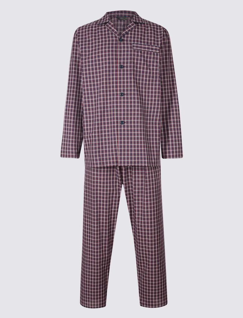 Mor Pamuklu Ekose Pijama Takımı
