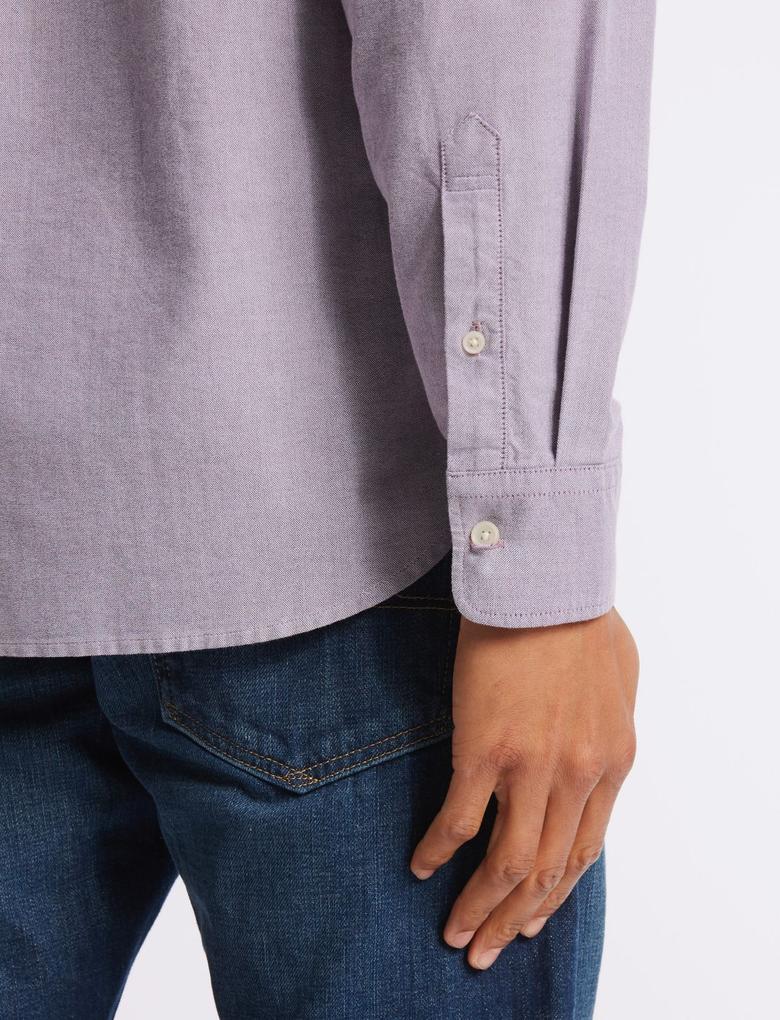 Koyu Lila Saf Pamuklu Oxford Gömlek