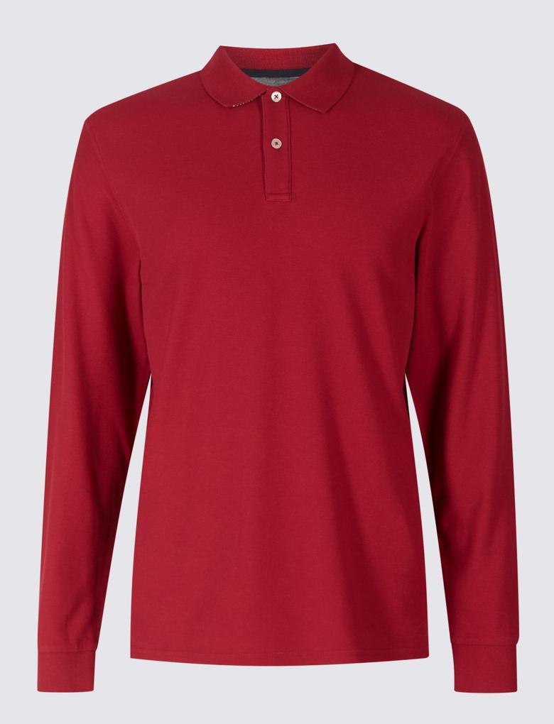 Saf Pamuklu Uzun Kollu Polo Yaka T-Shirt