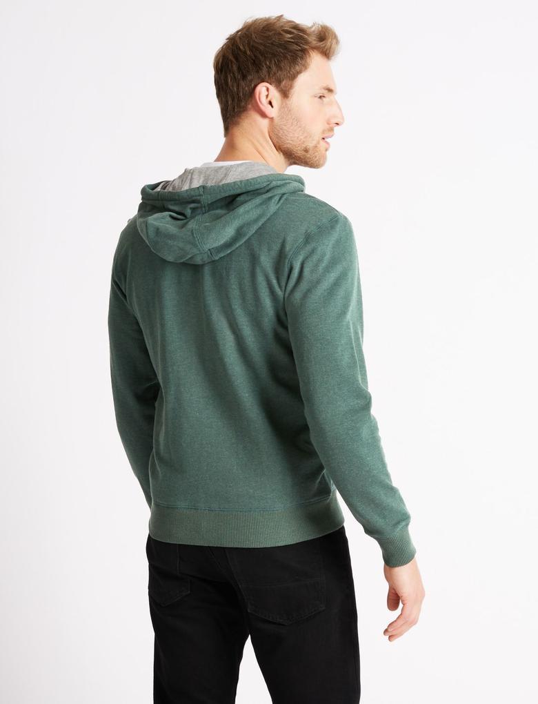 Yeşil Pamuklu Kapüşonlu Sweatshirt