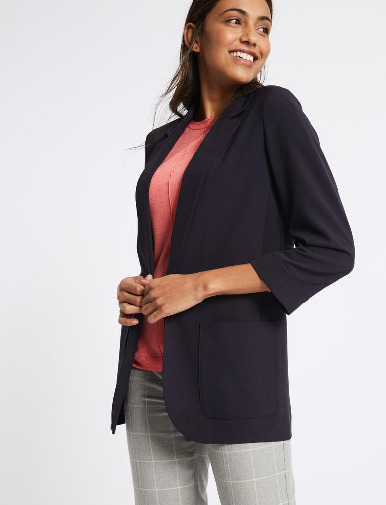Lacivert Cepli Blazer Ceket
