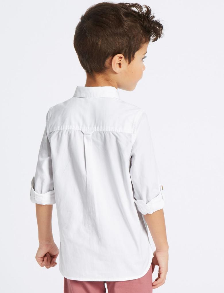 Saf Pamuklu Gömlek (3 Ay - 5 Yaş)