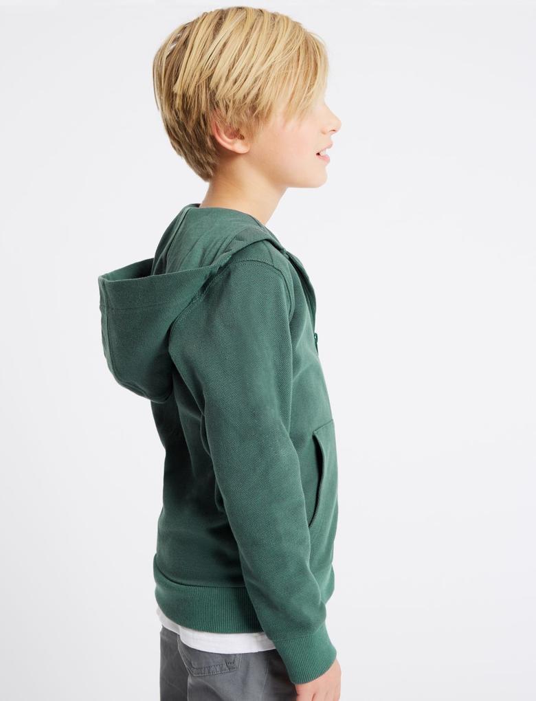 Saf Pamuklu Kapüşonlu Sweatshirt (3 - 16 Yaş)