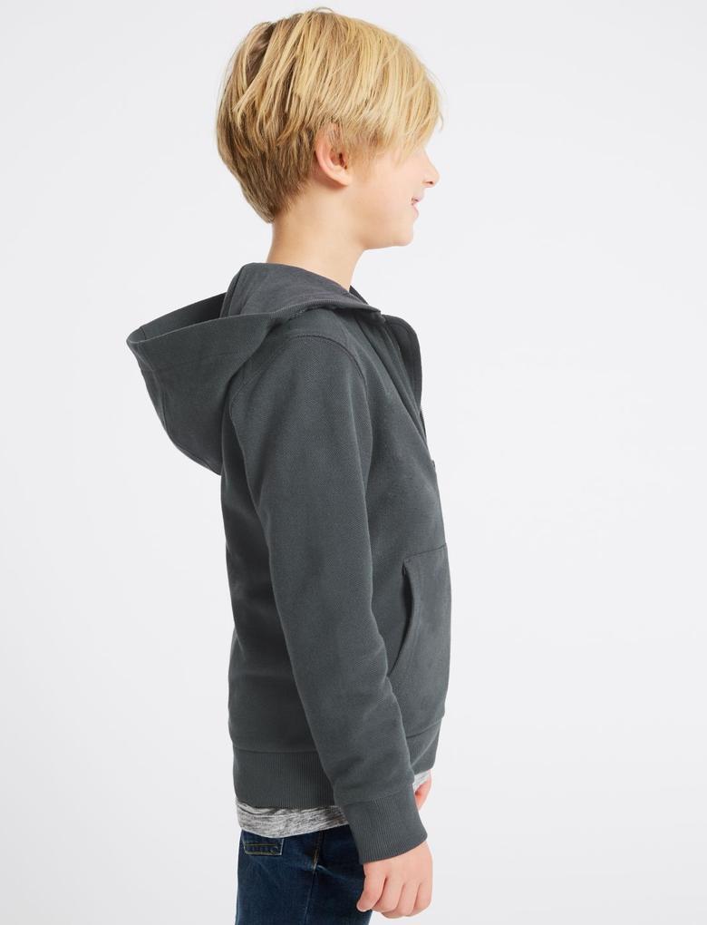 Gri Saf Pamuklu Kapüşonlu Sweatshirt (3 - 16 Yaş)