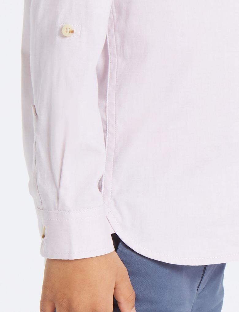 Pembe Saf Pamuklu Oxford Gömlek (3 Ay - 7 Yaş)