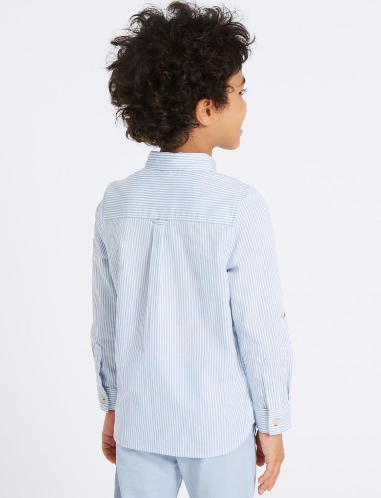 Saf Pamuklu Çizgili Oxford Gömlek (3 Ay - 7 Yaş)